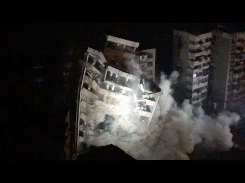 شاهد لحظة انهيار مبنى مكون من 10 طوابق