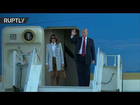 شاهد لحظة وصول ترامب يصل إلى هلسنكي للقاء بوتين