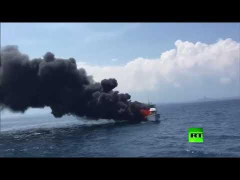 النيران تلتهم قاربًا سياحيًا صينيًا كان بالقرب من جزيرة تايوان