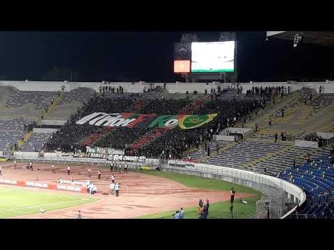 شاهد جماهير الجيش الملكي ترفع تيفو بملعب محمد الخامس