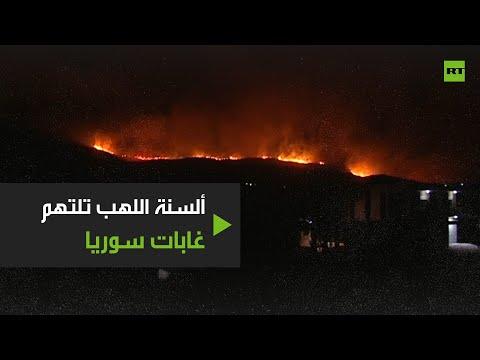 شاهد حرائق واسعة غربي سورية والنيران تلتهم الغابات