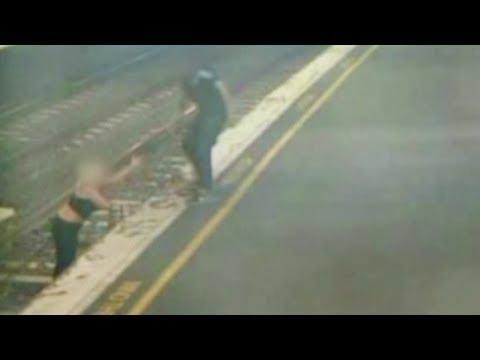 narrow escape for woman walking