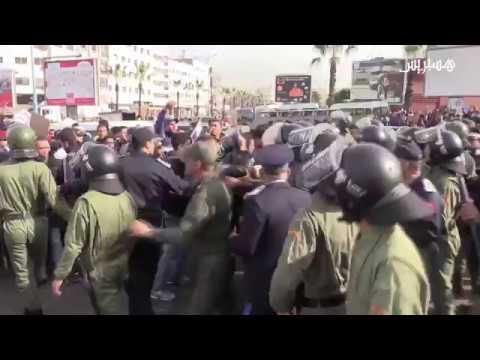 المغرب اليوم  - بالفيديو الأمن المغربي يمنع احتجاج قيادات تربوية عدّة