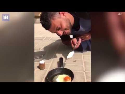 المغرب اليوم  - شاب يسوي البيض في درجة حرارة الجو