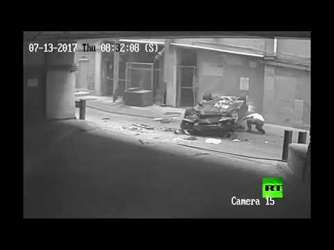 المغرب اليوم  - لحظة سقوط سيارة من الطابق السابع