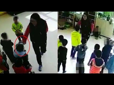 بالفيديو  مشهد مرعب لمعلمة تلكم وتركل تلاميذ حضانة