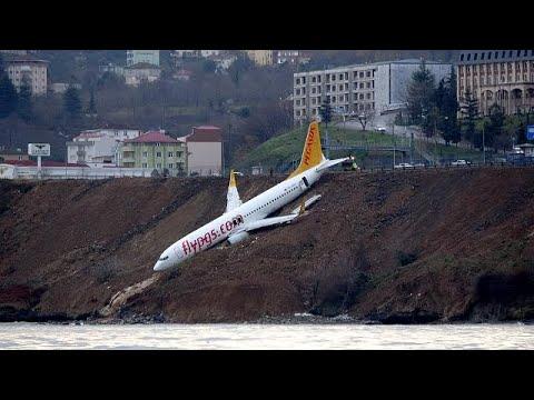شاهد فيديو من قلب طائرة التركية التي نجت من حادث مروّع