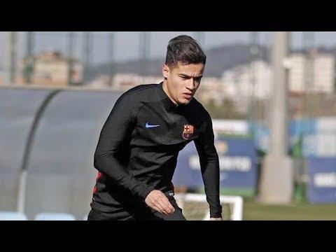 شاهد أول حصة تدريبية لكوتينيو مع برشلونة