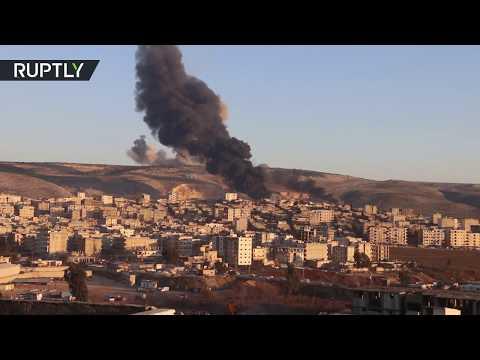 شاهد لحظة قصف القوات التركية لمواقع الأكراد في عفرين