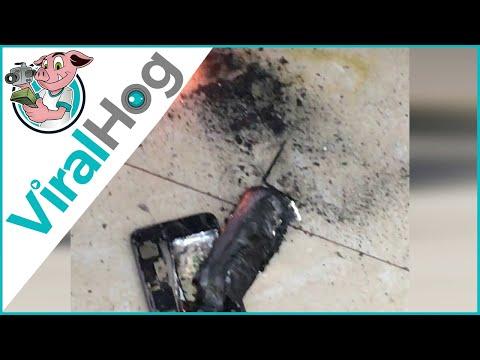 شاهد  لحظة انفجار هاتف آي فون في صالون تجميل