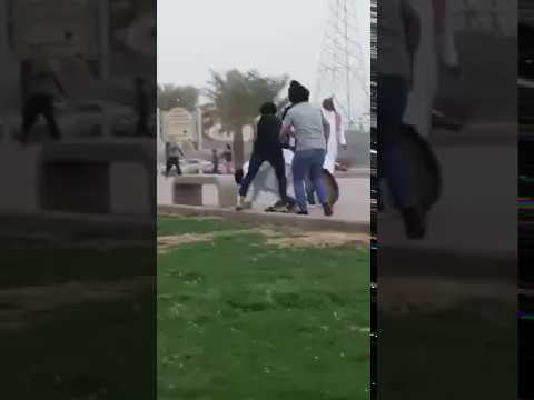 شاهد شباب يضربون شخصًا ويروّعون المواطنين بالكلاب