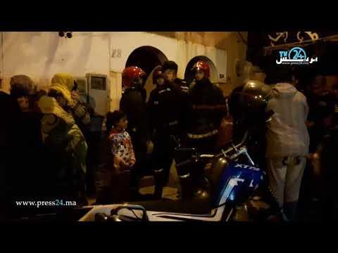 شاهد لحظة إخراج جثة الشاب المنتحر في حي مولاي رشيد في الدار البيضاء