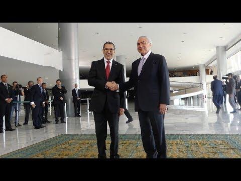 شاهد سعد الدين العثماني يستقبل في برازيليا من قبل الرئيس ميشال تامر