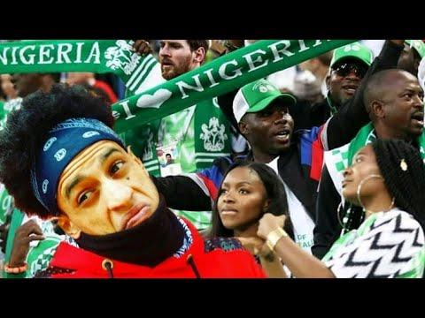 شاهد مغربي يخلق الحدث وسط جمهور المنتخب النيجيري