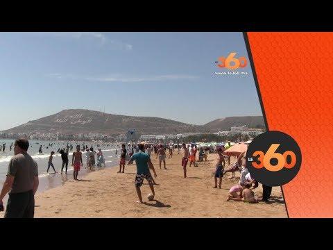 شاهد إقبال المصطافين من داخل وخارج المغرب على شاطئ أغادير