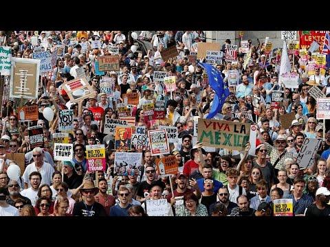 شاهد مظاهرة حاشدة في لندن ضدّ زيارة ترامب إلى بريطانيا