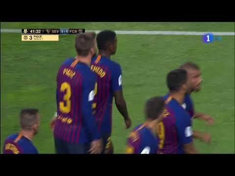 أهداف الشوط الأول في مباراة السوبر الإسباني بين برشلونة وإشبيلية