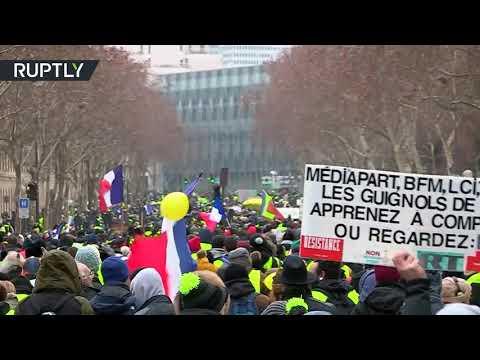 شاهدالسترات الصفراء يستأنفون احتجاجهم لأسبوعهم العاشر على التوالي