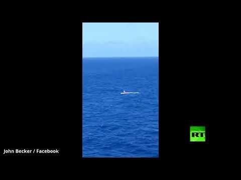 شاهد سقوط طائرة خفيفة تحمل طيارًا وراكبًا واحدًا في بحر الكاريبي