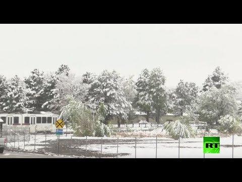 شاهد  عاصفة ثلجية تضرب ولاية كولورادو الأميركية