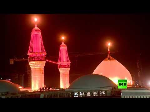 شاهد مئات الآلاف يصلون كربلاء قبيل يوم الأربعين الحسيني