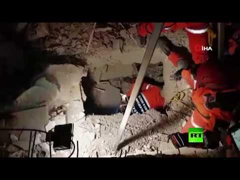 شاهد إنقاذ طفلة عمرها عامان بعد زلزال تركيا
