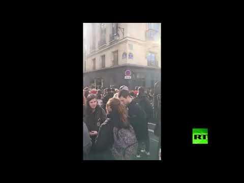 شاهد  تظاهرات وإضرابات نقابية تتسبب في شل الحركة المرورية في باريس