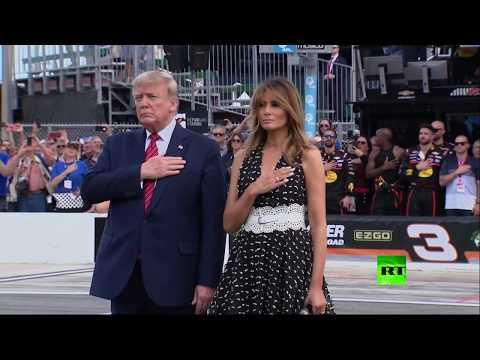 شاهد دونالد ترامب يشارك في سباق دايتونا 500 بسيارته الوحش