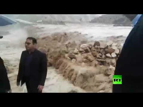 شاهد محافظ كوهدشت غرب إيران يتفقد مناطق الفيضانات