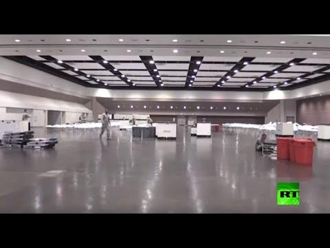 شاهد الحرس الوطني الأميركي يُقيم مستشفى ميدانيًا في مركز سانتا كلارا للمؤتمرات