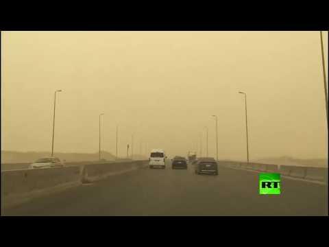 شاهد عاصفة ترابية تضرب العاصمة المصرية وارتفاع كبير في الحرارة