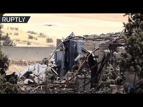 شاهد آثار الدمار جراء الغارات الإسرائيلية على محافظة حماة السورية