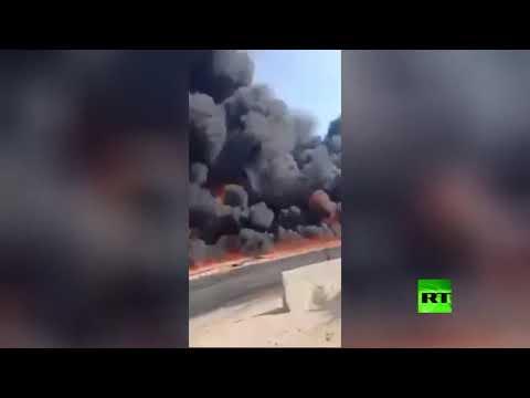 شاهد حريق هائل في مصر يُسفر عن إصابة 17 شخصًا