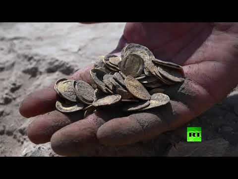 شاهد فيديو جديد لاكتشاف عملات ذهبية قديمة قرب تل أبيب