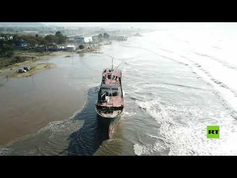شاهد إعصار مايساك يجرف سفينة كورية شمالية إلى الشواطئ الروسية