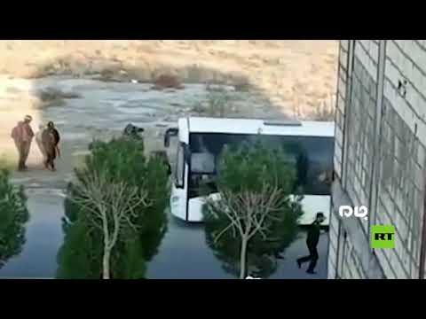 لحظة اعتقال محتجز الرهائن في مدينة قم الإيرانية